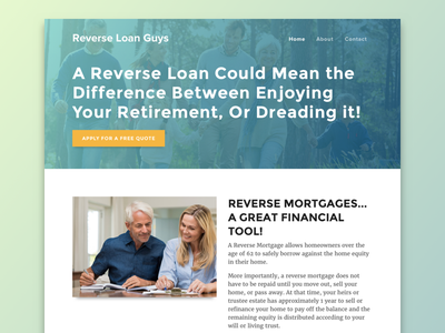 Reverse Loan Guys Landing Page gradient background call to action mortgage landing page