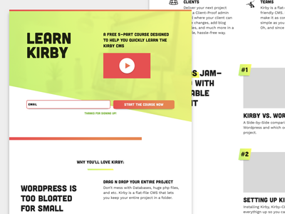 Learn Kirby Landing Page video course course landing page kirby cms cms kirby