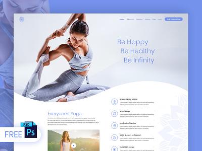 Free Yoga Web Design PSD Template website design fitness website design psd psd download psd design wellness website fitness website yoga free psd free psd templates freebies webdesign web design