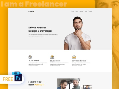 Free Freelancer Web Design PSD Template psd templates psd website templates psd mockup design website template personal portfolio freelancer freelancer website template freelancer web design free website psd free website templates free psd templates landing page modern minimal personal creative portfolio webdesign web design