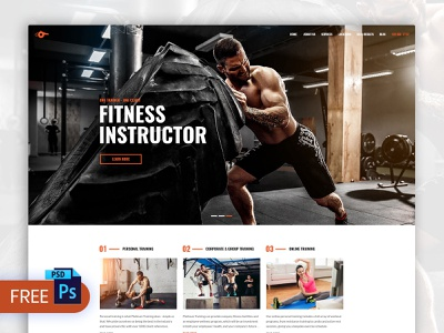 Free Personal Trainer Web Design PSD Template personal webdesign gyms coaches fitness free website template web design psd background removal background remover fitness web design free psd templates website psd template web design psd template