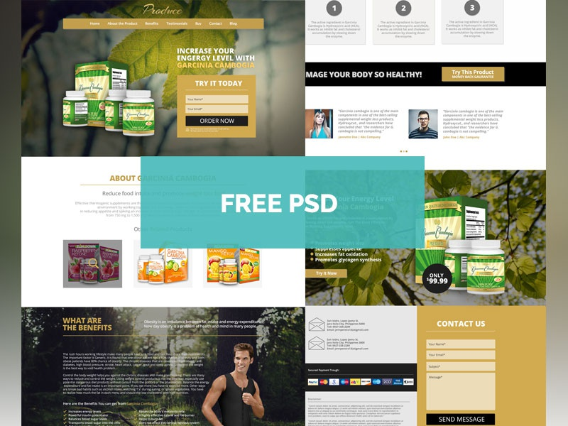 Free Produce Theme Product Landing Page free psd template web design organic landing page product