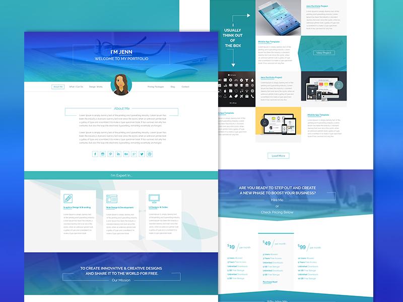 Freebie - Minimal iShow Personal Portfolio Psd personal portfolio web design flat minimal design free webdesign