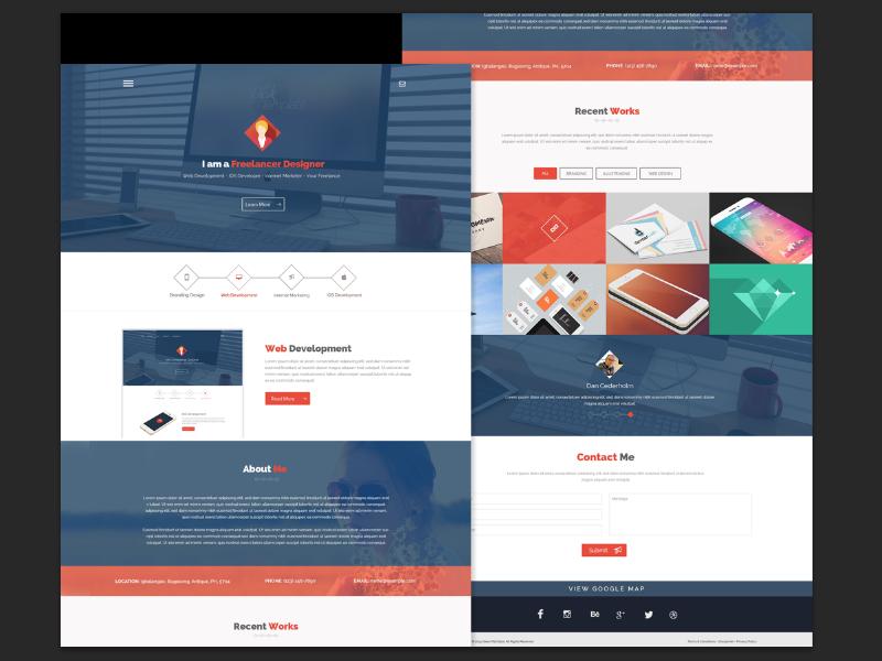 Free PSD - Flatstyle Web Design flat flat web design portfolio agency modern