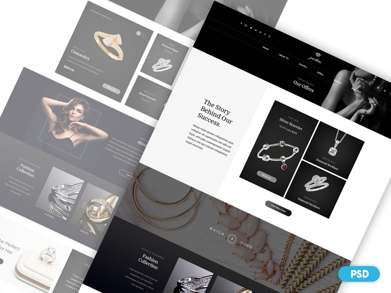 Day 1 - Free PSD - Jewelry Shop Web Design psd minimal brand shop e-commerce web design jewellery free psd freebies