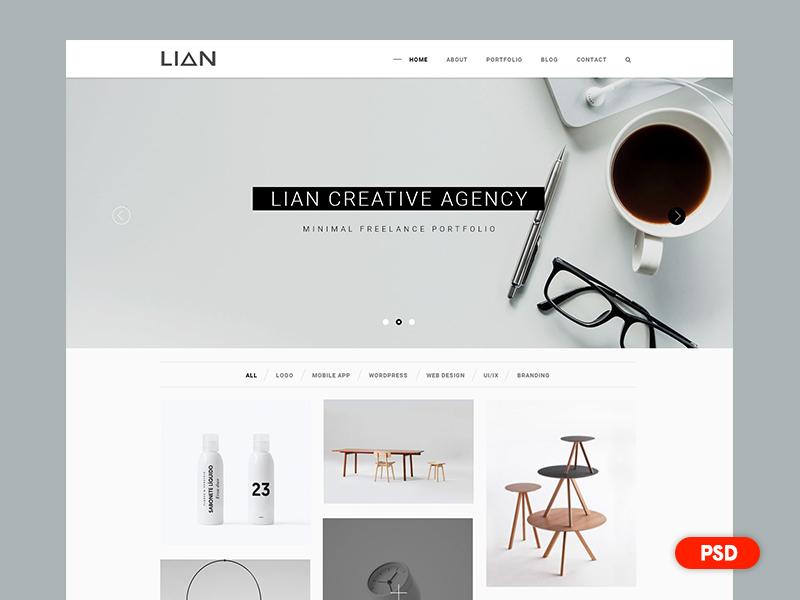 Day 2 - Free PSD - Minimal Portfolio Web Design gallery photography personal agency minimal clean modern portfolio web design