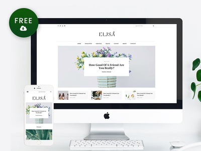 Freebie – Elisa WordPress Blog Theme wordpress theme web design personal minimalist free wordpress theme freebie blog theme blog