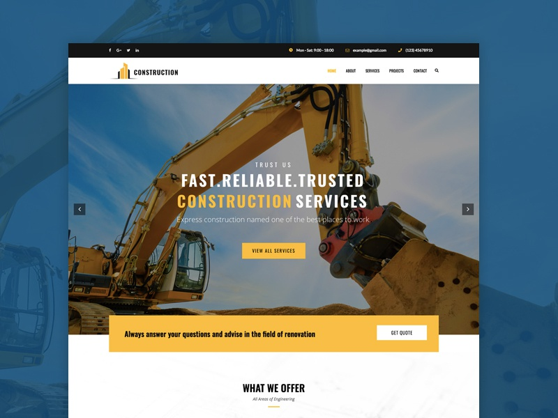 Engineering & Construction Web Design Template wordpress web design building construction engineering