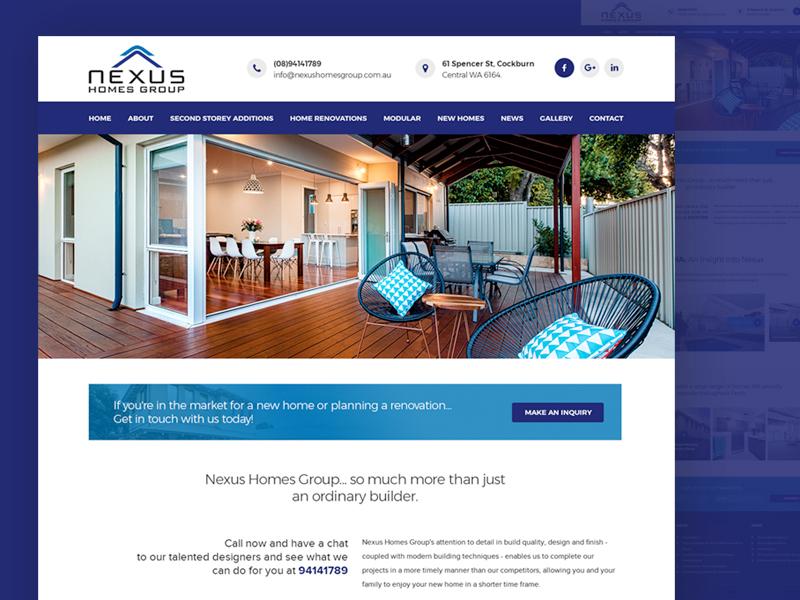 Web ReDesign for Nexus Homes Group (PSD Mockup) real estate web design home renovation real estate agency real estate corporate agency webdesign creative web design