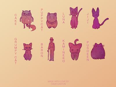 My Favourite Cats cake puppycat luna jiji grumpycat baron kamineko pusheen