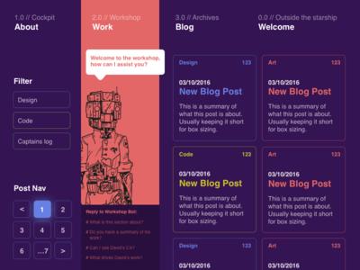 Portfolio Dark Theme concept website design filter posts chat bot dark theme robot scifi design concept blog