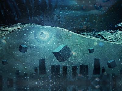 The Sunken City 3d eye light art cube city water cinema photo manipulation photography photoshop graphic design