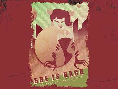 Retro Poster funny female woman lady girl cartoon retro poster design illustration graphic design