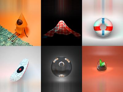 Random 3D Objects plant tech character cover artwork cover design cover 3dartwork 3dartist 3dart 3d cinema4d graphic design