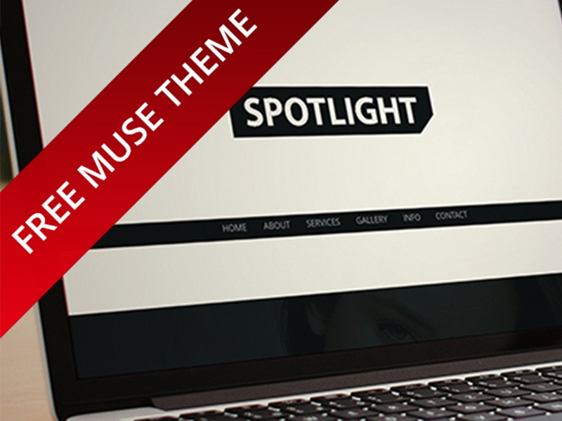 Spotlight Website adobe muse site web freebie simple page black white