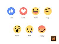 Facebook Emoji Ai-Freebies icon freebie emoji fun illustrator adobe social facebook