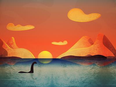 Just a Sunset! design dragon sea lake sunlight monster cloud landscape illustration vector illustration