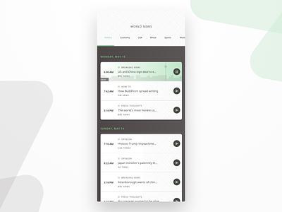 Audio News App UI graphic design design player ui uidesign uxdesign green world audio player audio mobile design mobile app mobile ui app news ux ui