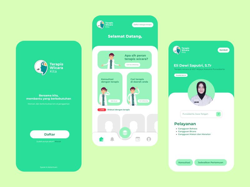 Terapis Wicara Kita UI UX application vector branding minimalist ux ui app flat minimal design