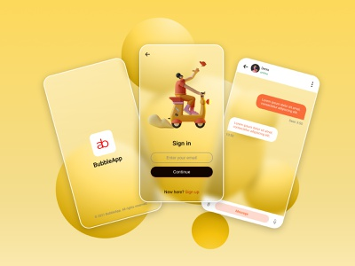 BubbleApp webdesig ux messenger yellow android ios mobile mobile app glassmorphism glass bubbles 3dillustration 3d 3d art graphicdesign graphic design 2021 ui
