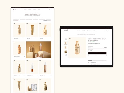 Beauty365 - e-commerce website concept monochromatic black beige uxdesign uidesign stylish typogaphy haircare ipad figma trends cosmetics minimalism catalog webdesign branding ux 2021 ui website