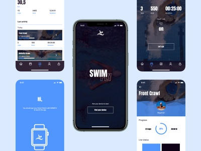SwimPly mobile mobile design swimmers swimming sport tracker fitness ios mobile app webdesign logo figma design ux 2021 ui