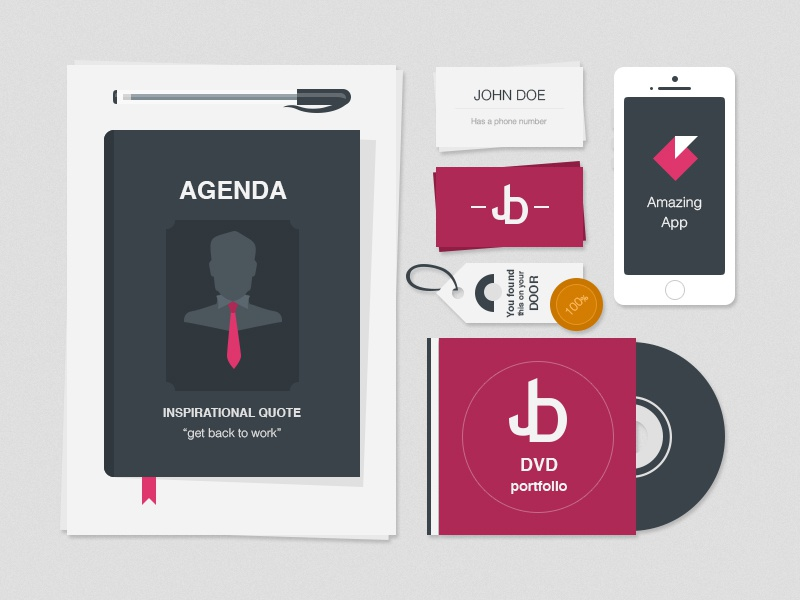 Freebie: Flat Stationery Items freebie flat stationery agenda mockup dvd iphone business card