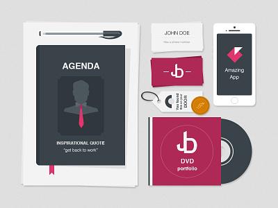 Freebie: Flat Stationery Items freebie flat stationery agenda mockup dvd iphone business card
