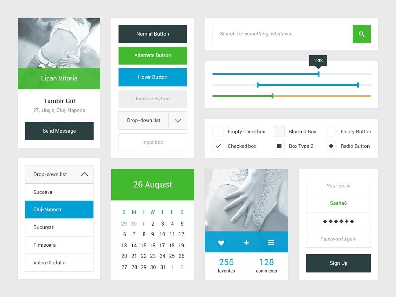 Freebie: Fresh UI Kit ui freebie buttons icons design ux fresh ui kit