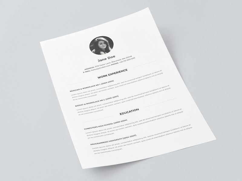 Freebie Resume Template Mockup