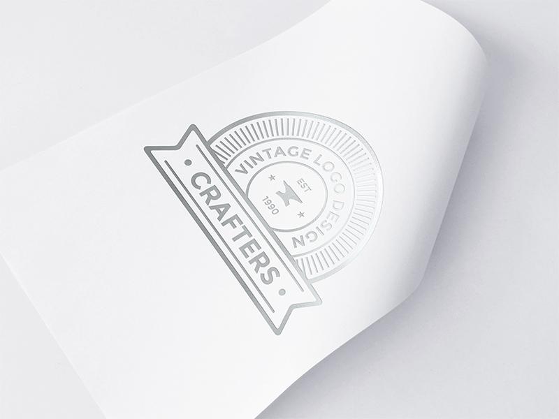 Freebie: Silver Foil Logo Mockup 2 identity branding paper mockup logo mockup silver foil logo mock up mock-up mockup psd freebie