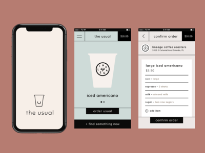 The Usual App — UX/UI branding app product layout ui ux