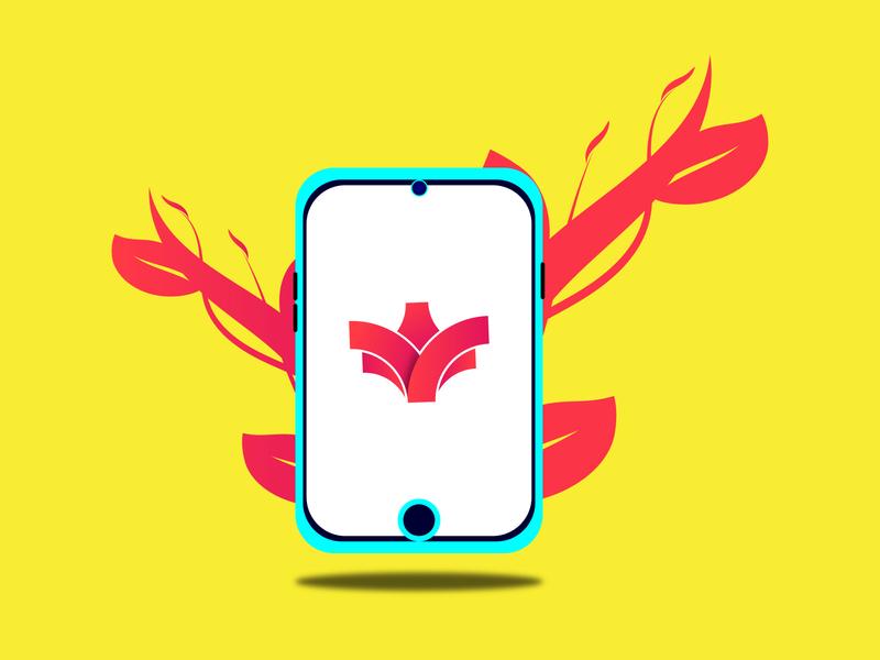 Mobile illustration with a Logo 01 । Abu Sayed 01 letter app icon branding vector minimal logo flat typography illustration