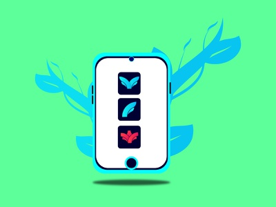 Mobile illustration with Apps Logo  । Abu Sayed 02 clean app icon branding typography logo minimal flat illustration vector