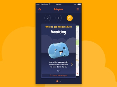 Babyease App - When to get medical advice ux ui mobile ios interaction illustration health digital design baby app android