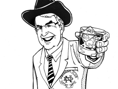 Notre Dame notredame scotch cowboyhat swingers sharpie illustration 1bf9e261495