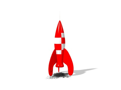 Rocket tintin clean shiny used red rocket