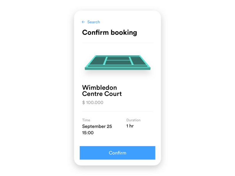 App confirmation screen app court booking confirmation