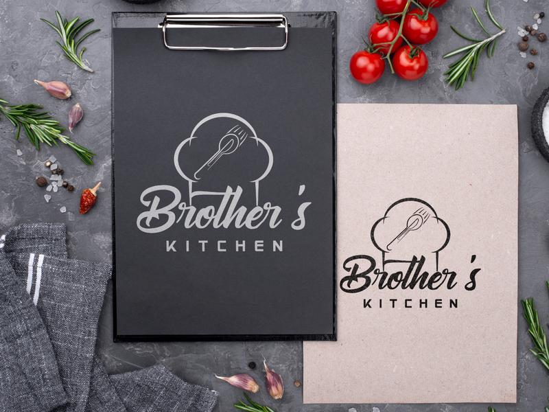 Brother's Kitchen Logo Design (For A Restaurant) design icon photoshop branding illustration graphic design vector typography logo illustrator