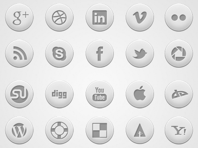 Crisp: Round Social Media Icon Set