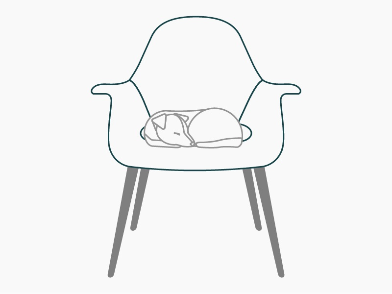 Mid-century modern puppy eames dog organic chair