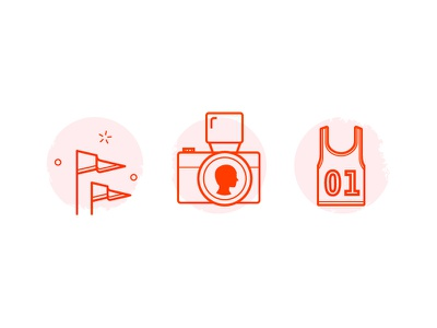 Lifestyle icons flag camera jersey flash pilot interactive