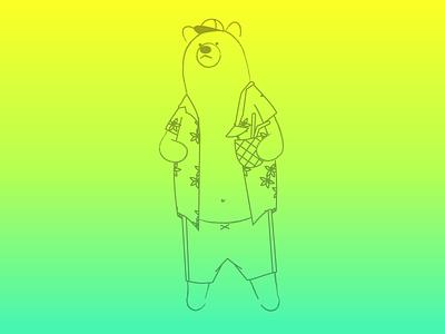 Weekend Bear bear hawaiian shirt pineapple drink trunks