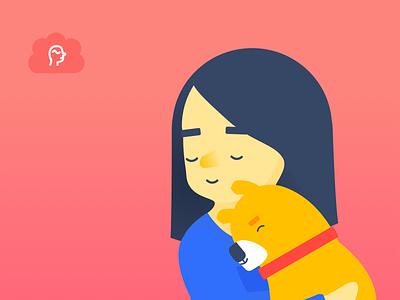 Wellness character puppy girl hug character