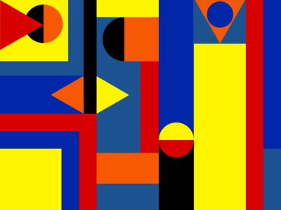 Shape Abstract red yellow shapes blue design digital art ui styles illustration flat abstract art abstract