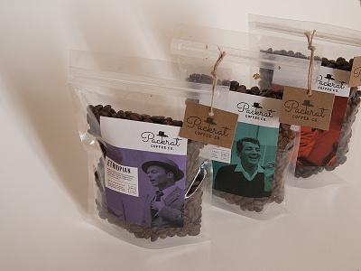 Packrat Coffee Co. Bags packaging coffee tags kraft blue note jazz rat pack roast