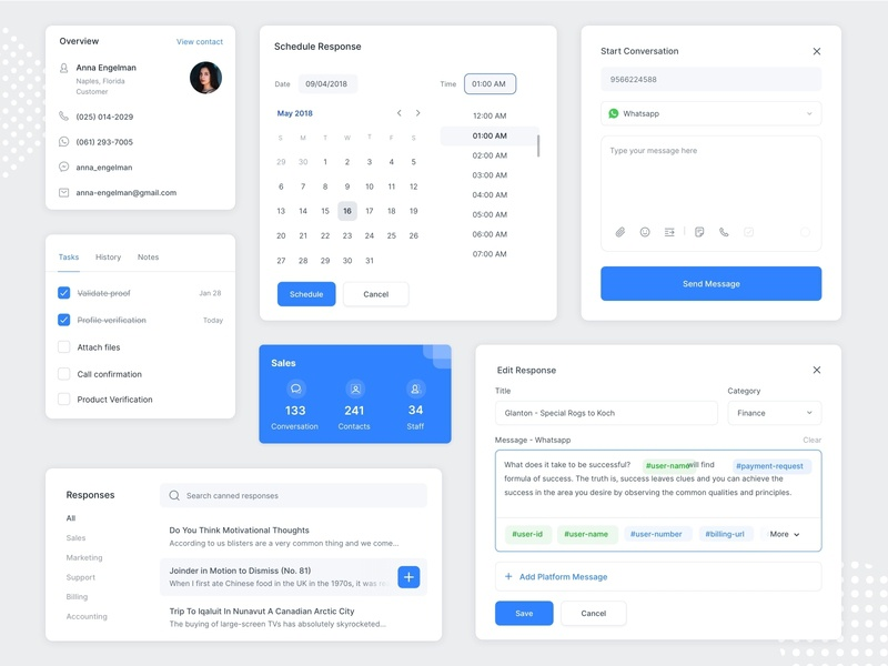 Widgets & Modals | Omni-channel dropdown canned status tag response message task schedule whatsapp product sass web ux ui design cards ui popup modals widgets