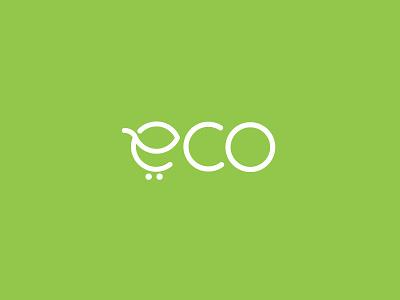 Eco Buy Logo rajan srinivasan typo creative logo cart online shop trolley leaf e eco