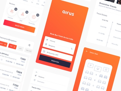 Airus | Bus booking ticket search result online colour bus booking app