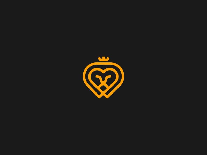 Lion Heart | experiment creative unused rajan srinivasan crown lion king love animal minimal logo heart lion